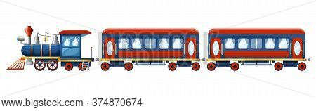 Train Composition From Cute Cartoon Colored Retro Steam Locomotive And Two Passenger Cars Isolated O