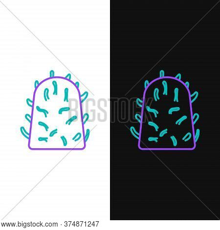 Line Rabies Virus Disease Microorganisms Icon Isolated On White And Black Background. Colorful Outli