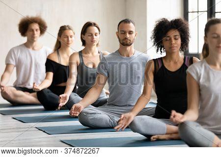 Young Fit Multiracial People Meditating In Padmasana.