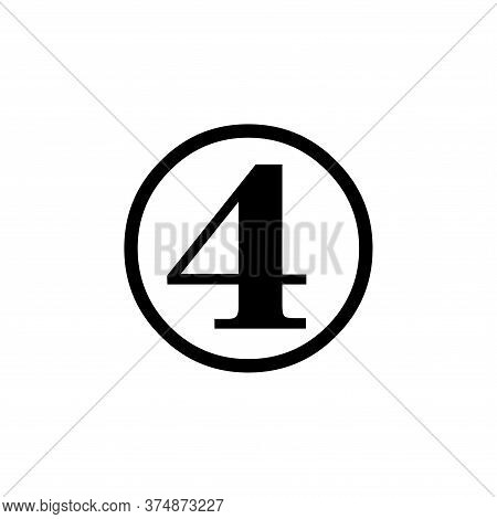 Number 4 Icon Simple Vector Sign And Modern Symbol. Number 4 Vector Icon Illustration, Editable Stro