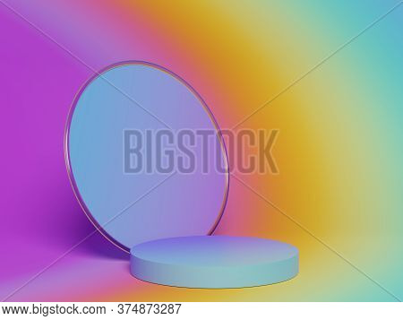 3d Abstract Minimalist Geometric Forms. Colorful Gradients Luxury Podium For Your Design In Trendy.