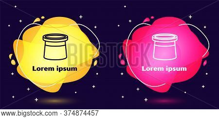Set Line Magician Hat Icon Isolated On Blue Background. Magic Trick. Mystery Entertainment Concept.