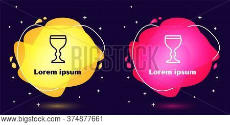 Set Line Wine Glass Icon Isolated On Blue Background. Wineglass Icon. Goblet Symbol. Glassware Sign.