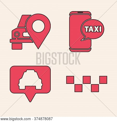 Set Taxi Car Roof, Map Pointer With Taxi, Taxi Call Telephone Service And Map Pointer With Taxi Icon