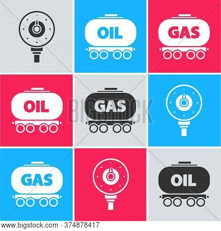 Set Motor Gas Gauge, Oil Railway Cistern And Gas Railway Cistern Icon. Vector