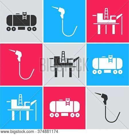 Set Oil Railway Cistern, Gasoline Pump Nozzle And Oil Platform In The Sea Icon. Vector