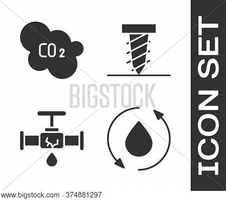 Set Oil Drop, Co2 Emissions In Cloud, Broken Pipe With Leaking Water And Rotating Drill Digging A Ho