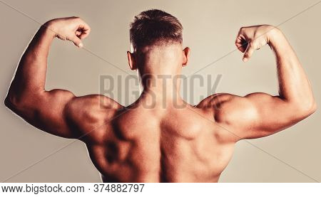 Muscular Back, Muscular Man, Muscled Back, Naked Torso. Man With Muscular Arms, Triceps. Waist, Wais