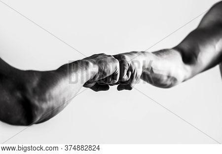 Friendly Handshake, Friends Greeting. Hands Of Man People Fist Bump Team Teamwork, Success. Man Givi