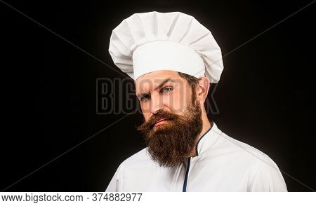 Bearded Chef, Cooks Or Baker. Bearded Male Chefs Isolated On Black. Cook Hat. Confident Bearded Male