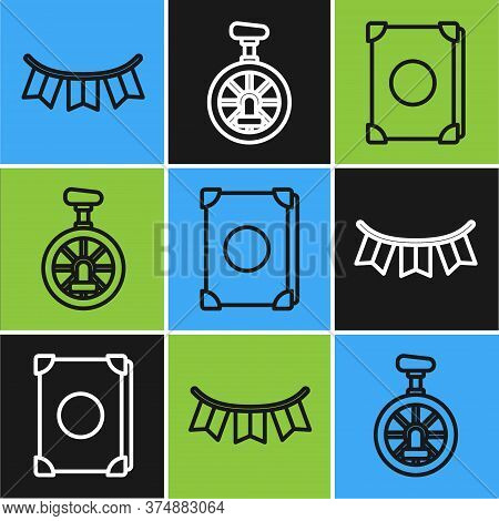 Set Line Carnival Garland With Flags, Ancient Magic Book And Unicycle Or One Wheel Bicycle Icon. Vec