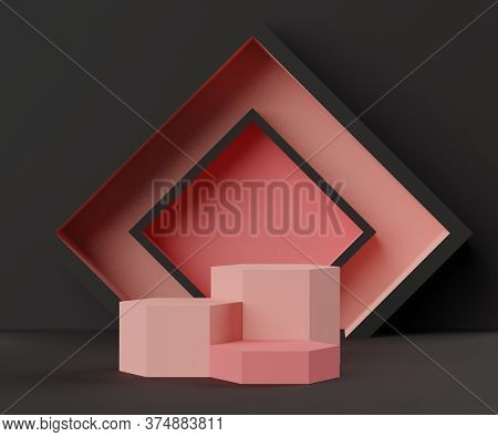 3d Abstract Minimalist Geometric Forms. Luxury Podium Display In  Black Pink Coral Color Theme. Fash