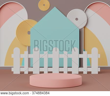 3d Abstract Minimalist Geometric Forms. Luxury Podium Display In Pastel Colorful Theme. Fashion Show