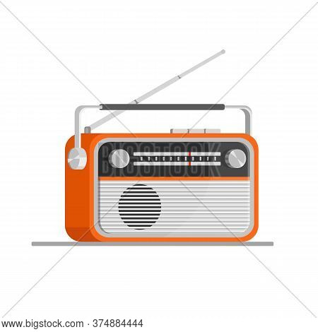 Orange Old Radio Tuner. Vector Illustration Of Vintage Radio Receiver, Flat Style. Retro Radio.