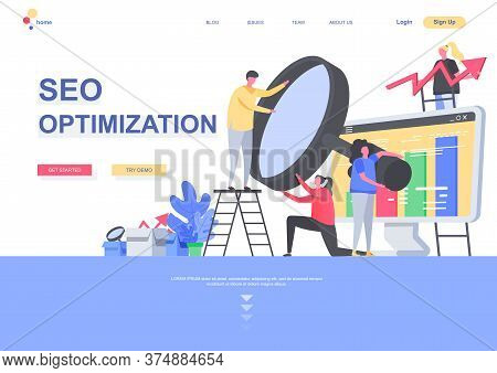 Seo Optimization Flat Landing Page Template. Marketing Team Analyzing Information With Magnifying Gl