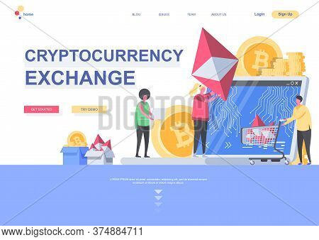 Cryptocurrency Exchange Flat Landing Page Template. Digital Money Market, Exchange And Trading Situa