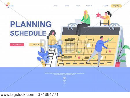 Planning Schedule Flat Landing Page Template. Business Team Together Planning Week And Month On Big