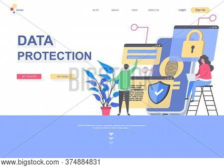 Data Protection Flat Landing Page Template. Data Security System, Personal Information Confidentiali