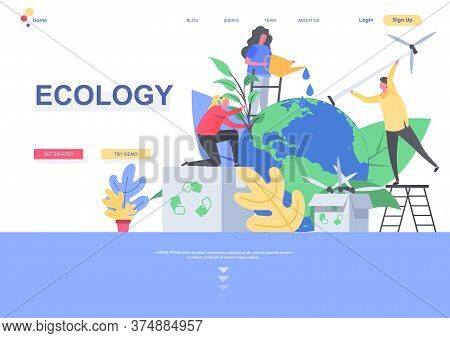 Ecology Flat Landing Page Template. People Caring About Earth Planet, Watering And Planting Trees Si