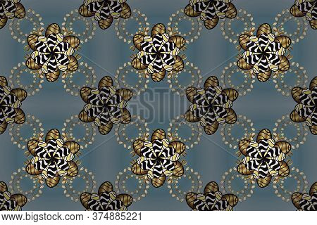 Damask Pattern Repeating Background. Golden Blue And Black Floral Ornament In Baroque Style. Antique