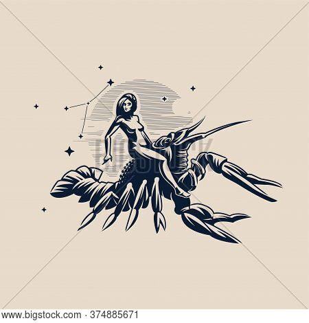 Sign Of The Zodiac Cancer. A Woman Riding A Crawfish. White Background. Constellation Of Cancer. Vec