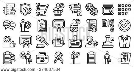 Quality Assurance Icons Set. Outline Set Of Quality Assurance Vector Icons For Web Design Isolated O