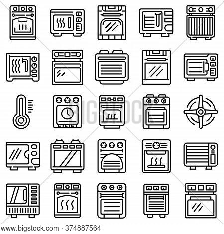 Convection Oven Icons Set. Outline Set Of Convection Oven Vector Icons For Web Design Isolated On Wh