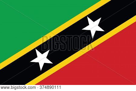 Saint Kitts And Nevis Flag Vector Graphic. Rectangle Saint Christopher And Nevis Flag Illustration.