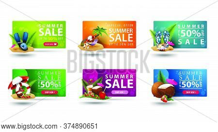 Large Collection Of Colorful Volumetric 3d Summer Discount Coupons With Summer Icons, Buttons And La