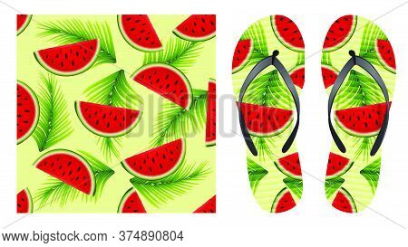 Summer Abstract Bright Seamless Pattern With Watermelon Slices And Palm Leaves. Pattern Design For P