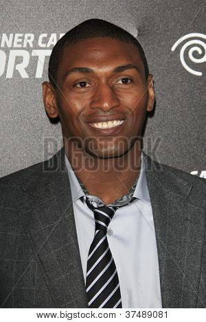 LOS ANGELES - OCT 30:  Ron Artest, aka Metta World Peace arrives at the Time Warner Sports Launch of TWC Sportsnet at TWC Sports Studios on October 30, 2012 in El Segundo, CA