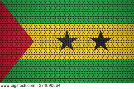 Abstract Flag Of Sao Tome And Principe Made Of Circles. Sao Tomean Flag Designed With Colored Dots G