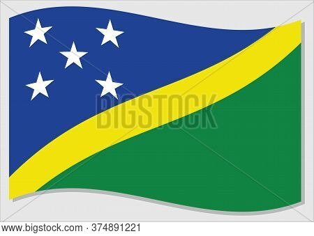 Waving Flag Of Solomon Islands Vector Graphic. Waving Solomon Islander Flag Illustration. Solomon Is