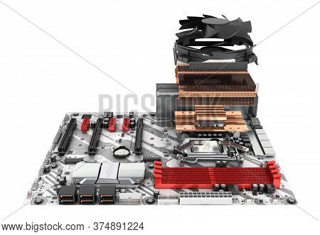 Motherboard Complete With Processor And Cooling System In Disassembled Form Isolated On White Backgr