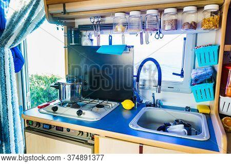 Caravan Inside, Kitchen Area