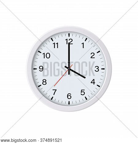 White Round Wall Clock Showing 16 O'clock, Isolated. Vector Illustration