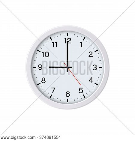 Circle Watch Face Isolated On White Background. 9 O'clock. Vector Illustration