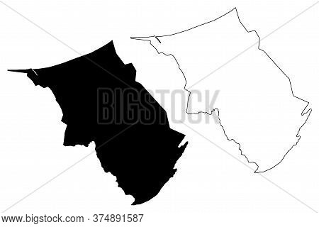 Belait District (nation Of Brunei, The Abode Of Peace, Borneo Island) Map Vector Illustration, Scrib