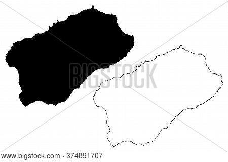 Santo Antao Island (republic Of Cabo Verde, Concelhos, Cape Verde, Island, Archipelago) Map Vector I