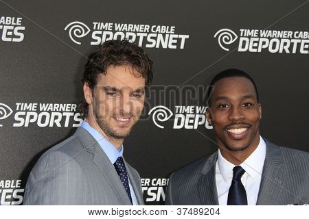 LOS ANGELES - OCT 30:  Pau Gasol, Dwight Howard arrives at the Time Warner Sports Launch of TWC Sportsnet at TWC Sports Studios on October 30, 2012 in El Segundo, CA
