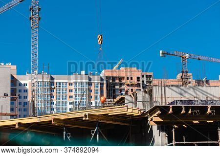 New Construction Of A New House, Preparation Of A New Floor, Foundation Of A New House.