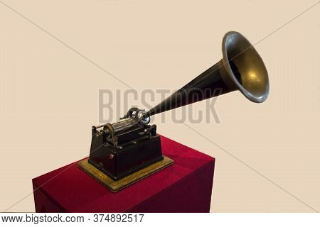Phonograph Vintage For Recording Speech Music On A Light Background. Ancient Technology Technique.