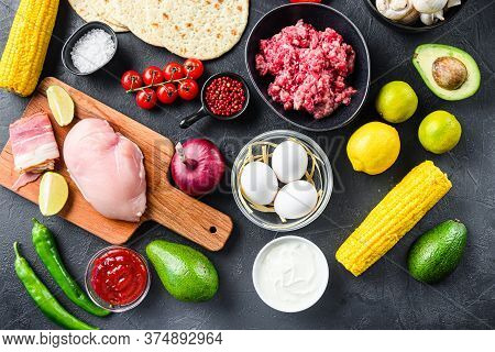 Mixed Mexican Food Background, Raw Organic Ingredients For Tacos With Chicken And Beef Meat, Corn To