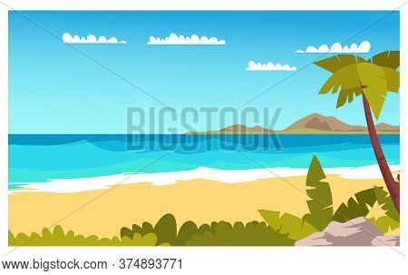 Tropical Island Flat Vector Color Illustration. Seascape. Sky, Coast, Palm Trees And Sailing Boat In