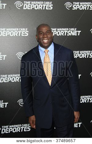 LOS ANGELES - OCT 30:  Magic Johnson arrives at the Time Warner Sports Launch of TWC Sportsnet at TWC Sports Studios on October 30, 2012 in El Segundo, CA