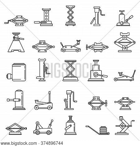 Modern Jack-screw Icons Set. Outline Set Of Modern Jack-screw Vector Icons For Web Design Isolated O