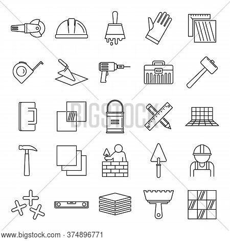 Tiler Worker Icons Set. Outline Set Of Tiler Worker Vector Icons For Web Design Isolated On White Ba