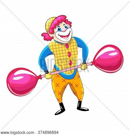 Clown Balloon Barbell Icon. Cartoon Of Clown Balloon Barbell Vector Icon For Web Design Isolated On