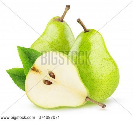 Isolated Green Pear Fruits. Two Green Pears And A Half With Seeds Isolated On White Background