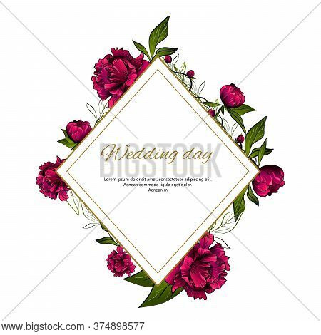 Rhomboid Frame Made With Colorful Purple Peony Flowers And Golden Lines And Words Wedding Day On Whi